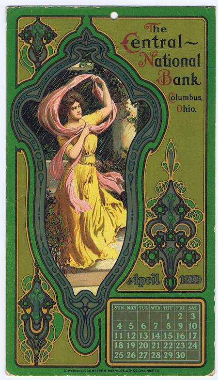 H484 STROBRIDGE LITHO CALENDAR CNB CARD APRIL 1909