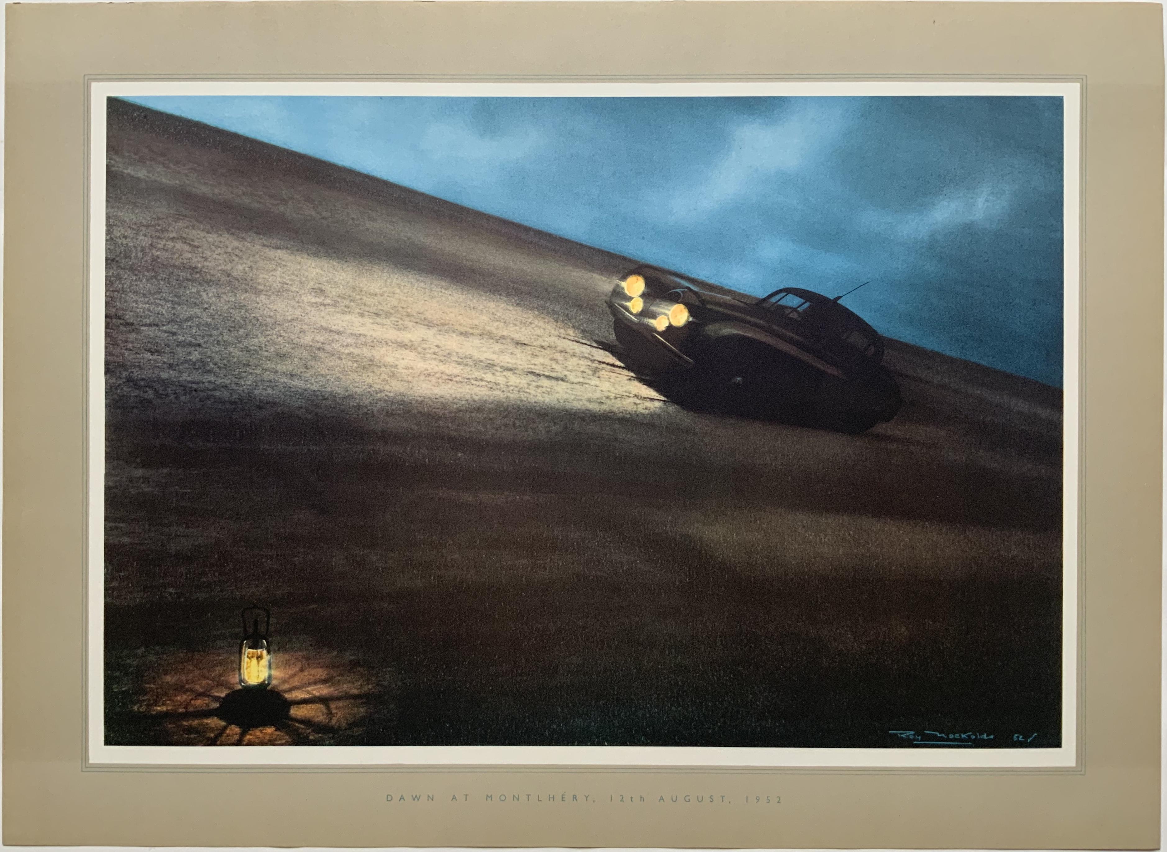 U1126 DAWN AT MONTLHERY 1952 - JAGUAR RACING SHOWROOM POSTER - STIRLING MOSS