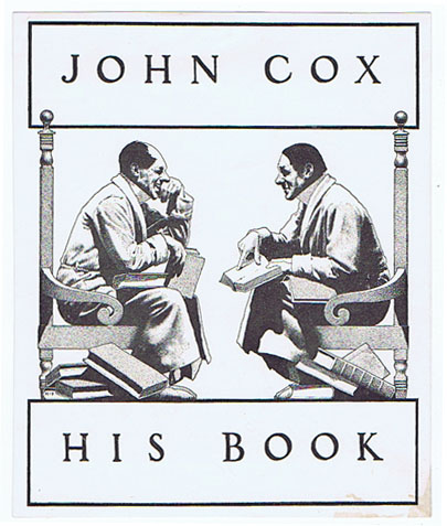 AK0295 JOHN COX - HIS BOOK MAXFIELD PARRISH BOOK PLATE