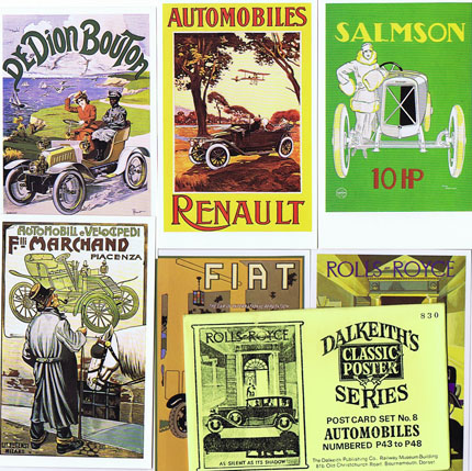 DK073 DALKEITH'S POSTER POSTCARDS: AUTOMOBILES - SET #8