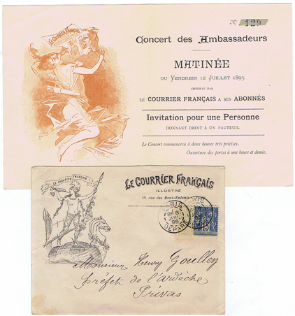 DK240 CONCERT DES AMBASSADEURS  - 12 JULLIET 1895 - MATINEE INVITATION WITH ORIGINAL ENVELOPE