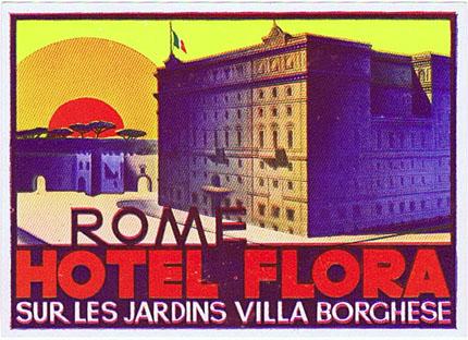 DK432 ROME HOTEL FLORA LABEL