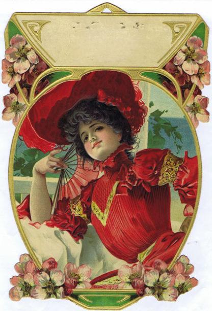 DK467 VICTORIAN LADY IN RED DIE CUT CALENDAR SAMPLE