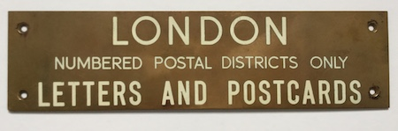 H369 LONDON POSTAL SIGN