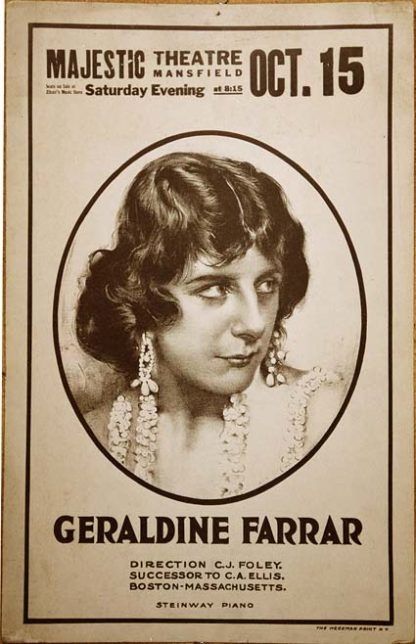 YK0726 GERALDINE FARRAR – MAJESTIC THEATER OCTOBER 15, 1921