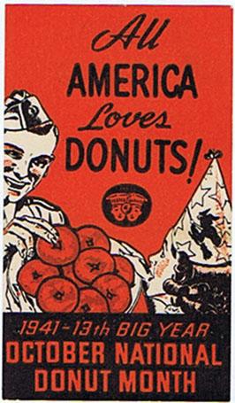 DK353 ALL AMERICA LOVES DONUTS - OCTOBER NATIONAL DONUT MONTH 1941