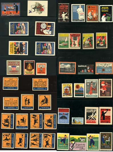 YK0266 COLLECTION OF 46 DIFFERENT ADVERTISING STAMPS FOR PAINT AND VARNISHES