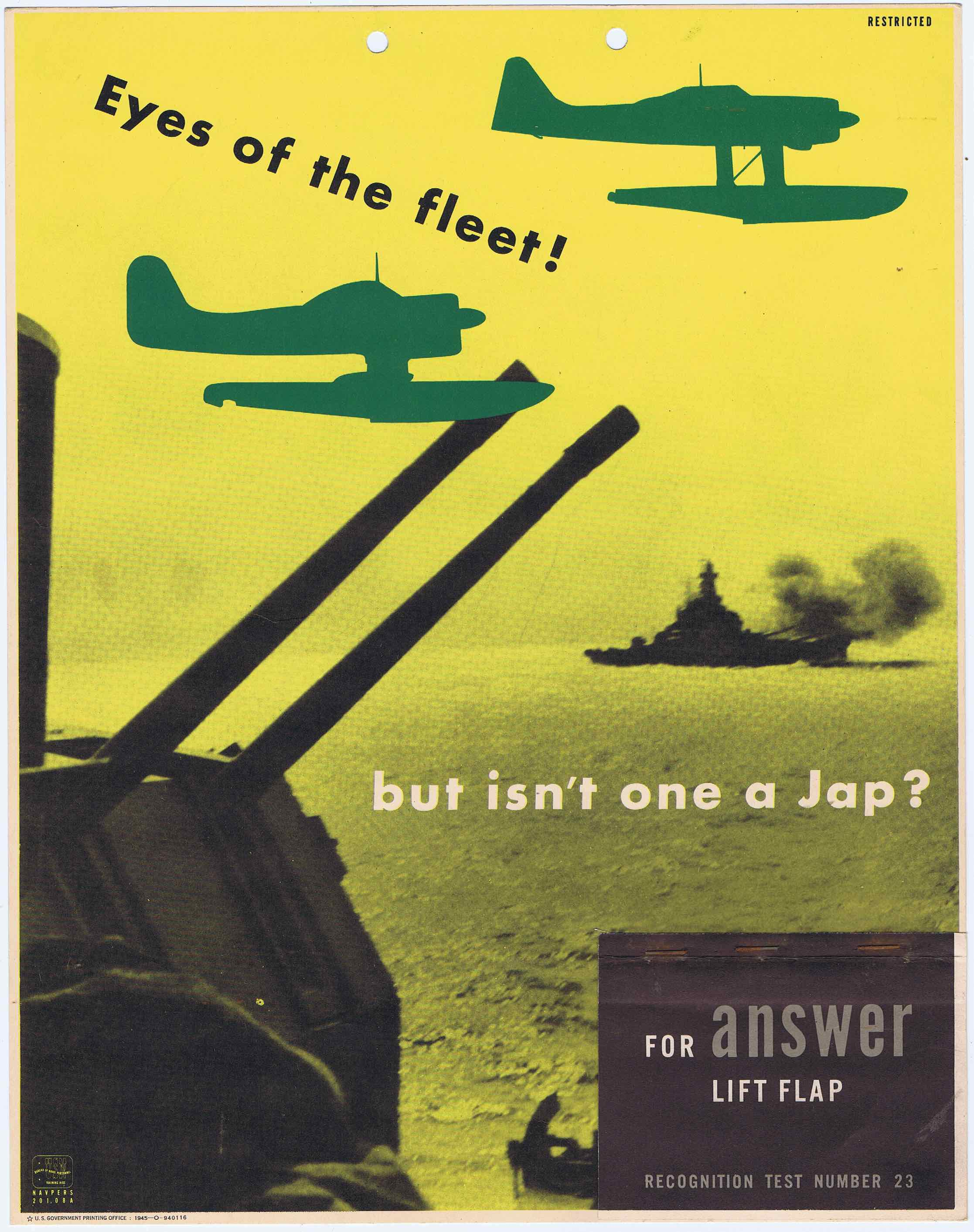 J317	EYES OF THE FLEET - BUT ISN'T ONE A JAP? - U.S. ARMY AIR FORCE RECOGNITION POSTER