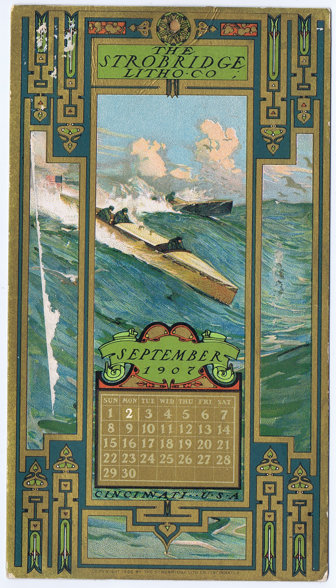 J448STROBRIDGE CALENDAR CARD SEPTEMBER 1907