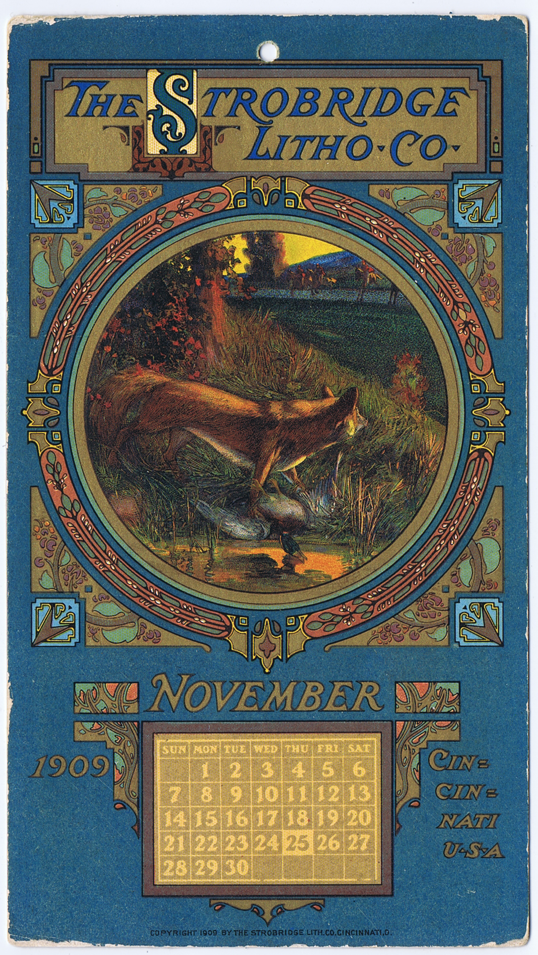 J459STROBRIDGE CALENDAR CARD NOVEMBER 1909