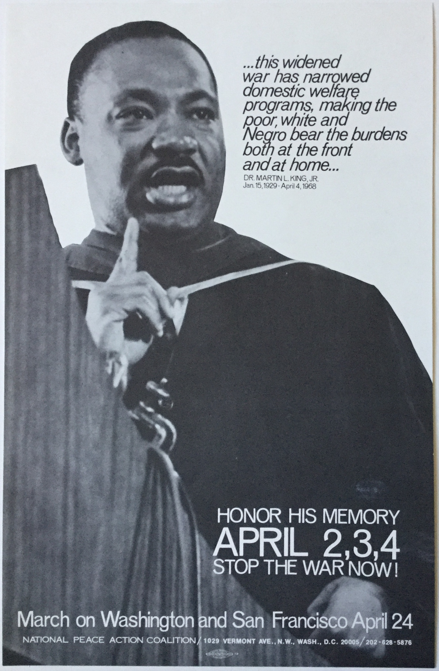 """J474DR. MARTIN LUTHER KING """"HONOR HIS MEMORY"""" - """"STOP THE WAR NOW"""" - MARCH ON WASHINGTON 1969"""