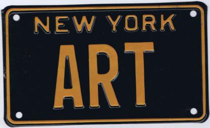 """J511NEW YORK VANITY LICENSE PLATE 1930S – """"ART"""""""