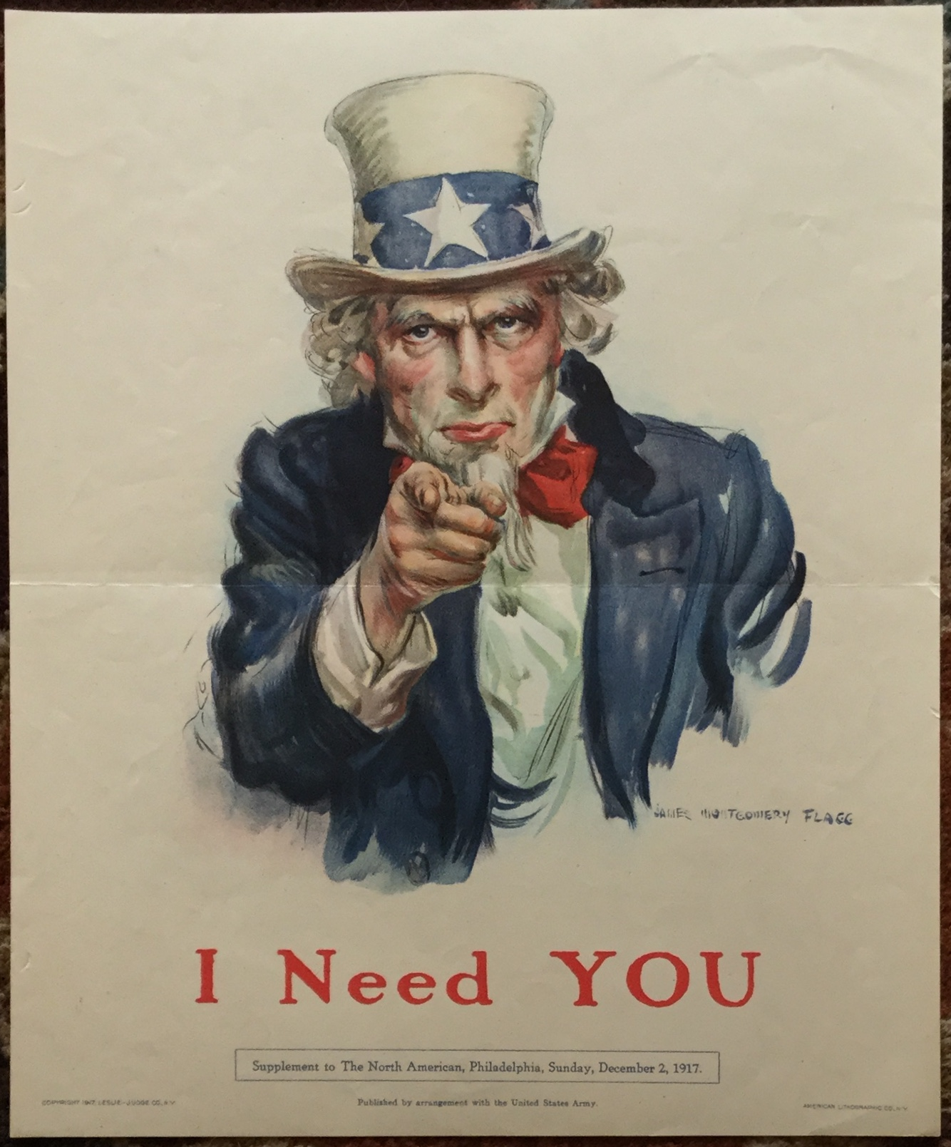 J547I NEED YOU - POSTER SUPPLEMENT TO THE NORTH AMERICAN, PHILADELPHIA, SUNDAY, DECEMBER 2, 1917
