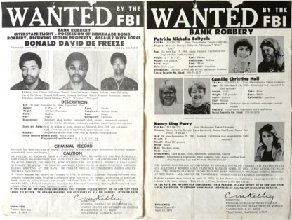 """J693FBI WANTED POSTERS FOR """"CINQUE"""" AND OTHER SLA MEMBERS"""
