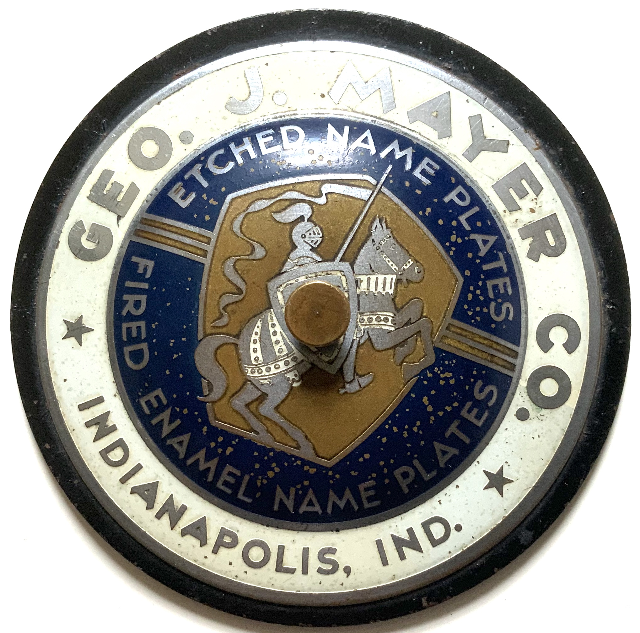 J695GEORGE J. MAYER CO. SHERIFF'S BADGE MAKER - INDIANAPOLIS PAPERWEIGHT