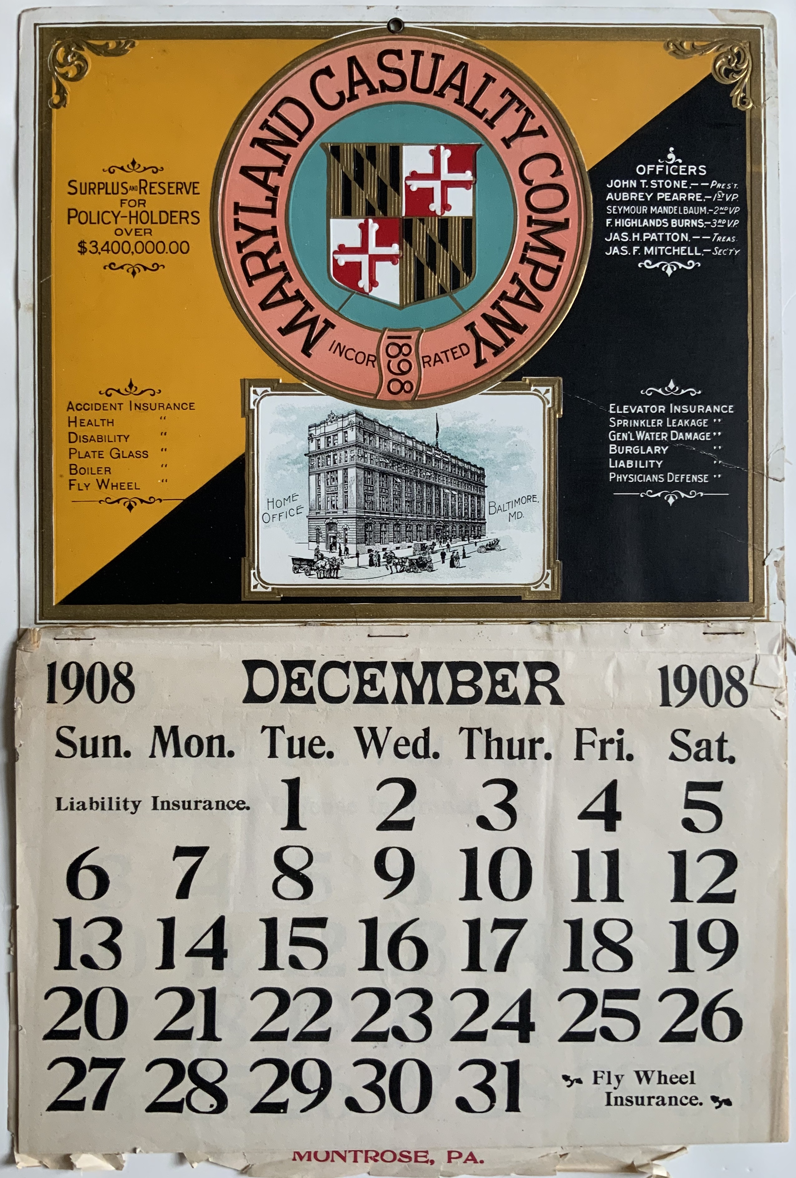 J740MARYLAND CASUALTY COMPANY INSURANCE CALENDAR 1908