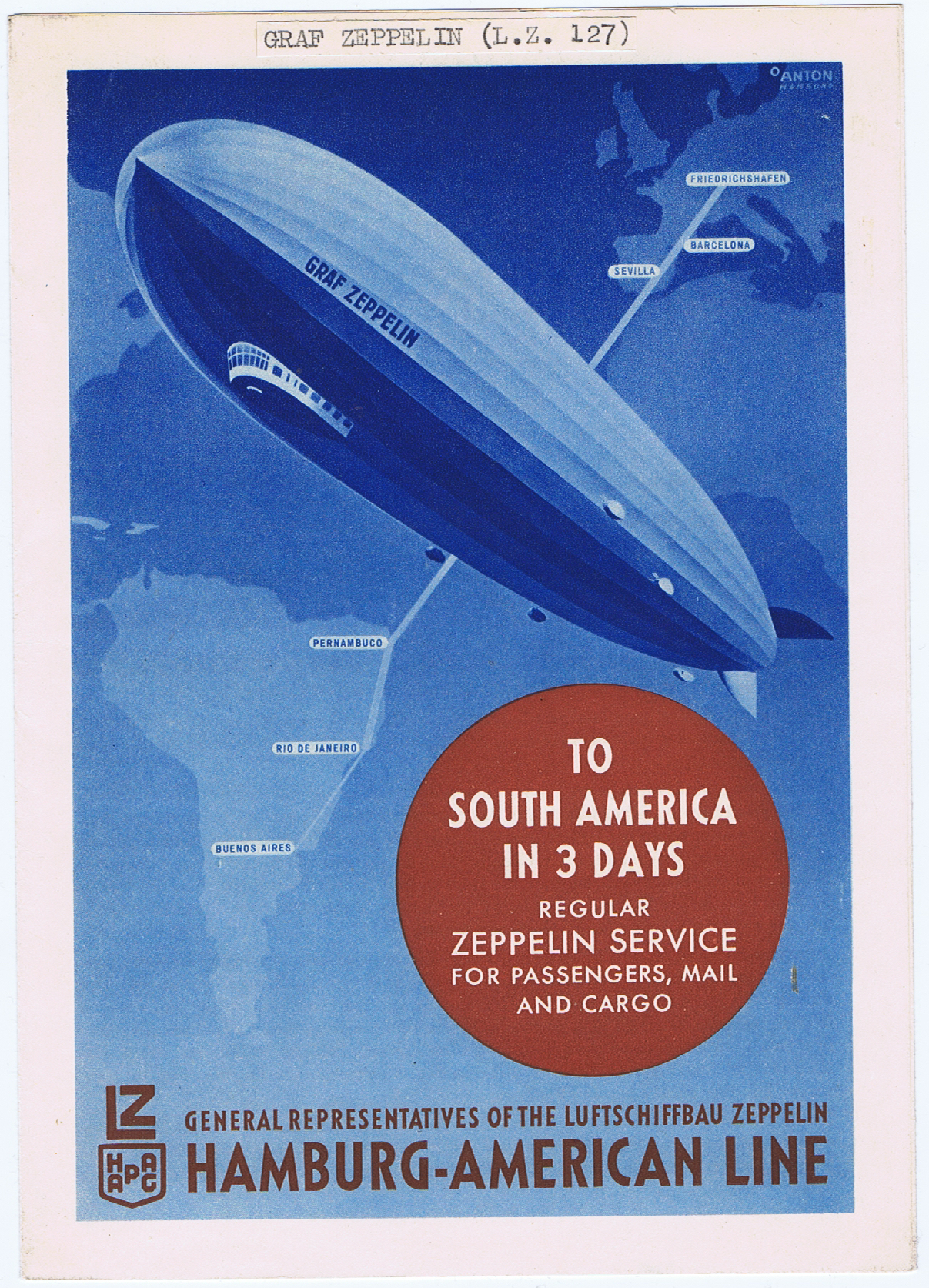 J767GRAF ZEPPELIN - TO SOUTH AMERICA IN 3 DAYS