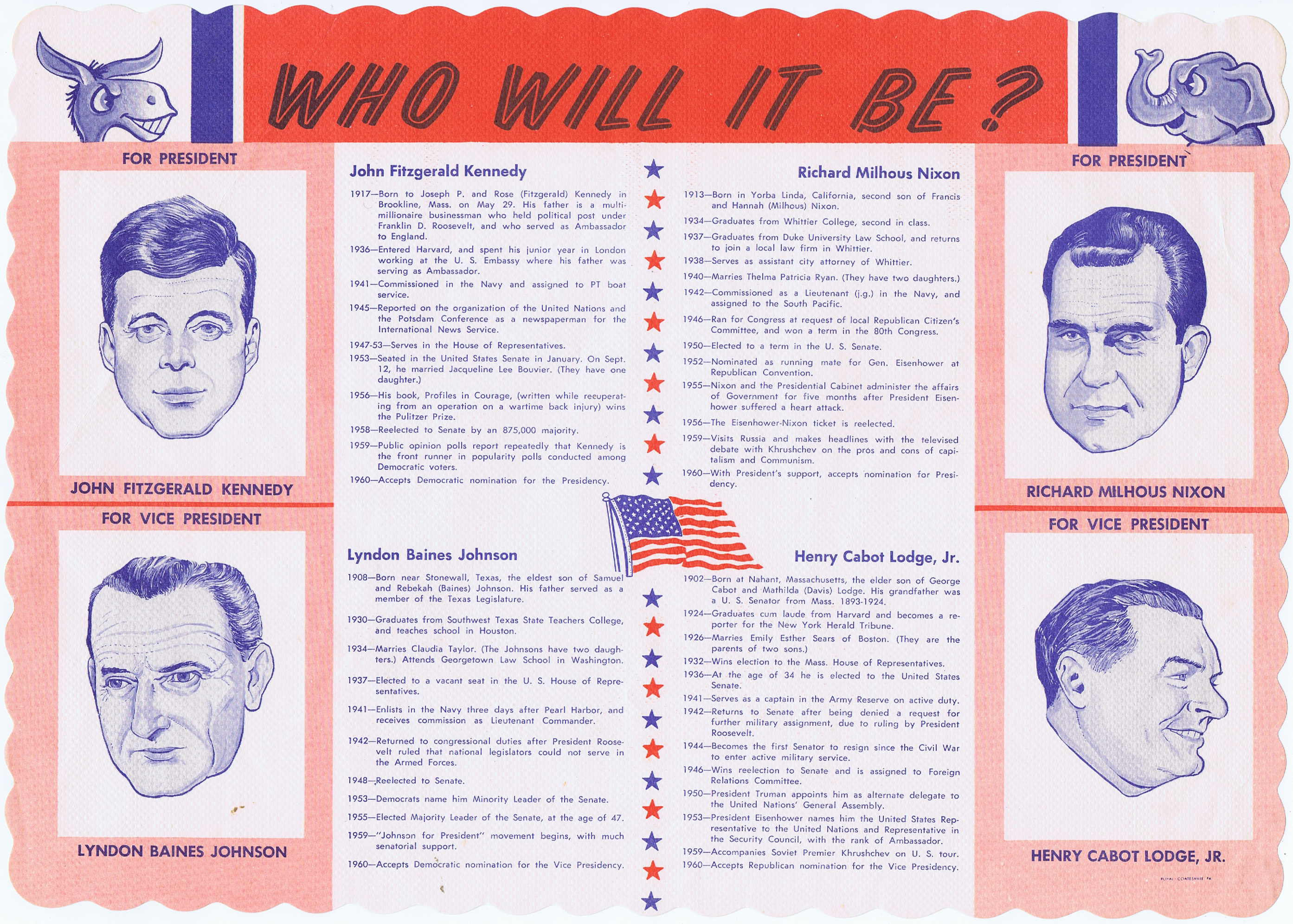 J824WHO WILL IT BE? ORIGINAL 1960 DINER PLACEMAT SHOWING JFK AND NIXON WITH THEIR VICE PRESIDENTS
